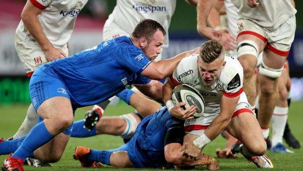 Replacement Ian Madigan is tackled during Ulster defeat to Leinster. Photograph: Billy Stickland/Inpho