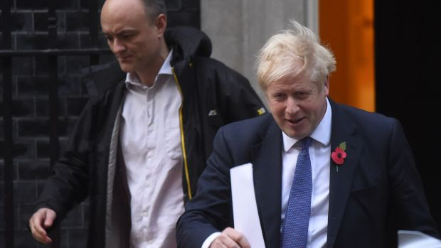 Prime minister Boris Johnson and his political advisor Dominic Cummings. Photograph: Peter Summers/Getty Images