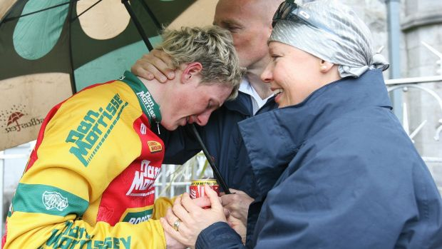 An emotional Sam Bennett with his parents Michael and Helen after his win in stage 7 of the 2009 FBD Insurance Rás in Clara, Co Offaly. Photograph: Lorraine O'Sullivan/Inpho