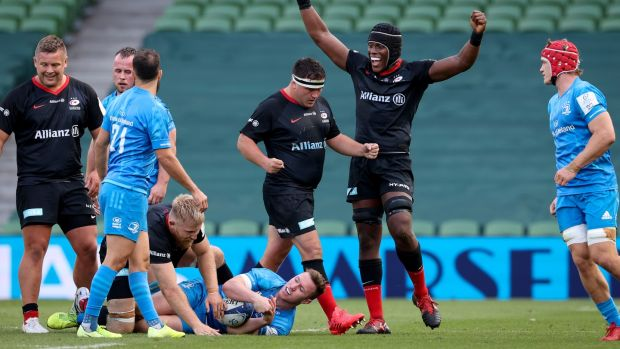 Maro Itoje celebrates Saracens' win over Leinster. Photograph: Billy Stickland/Inpho
