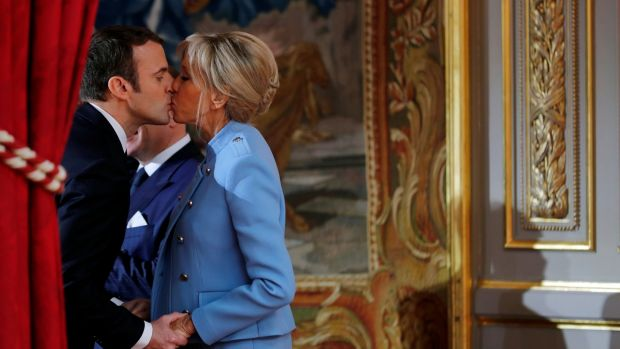 French President Emmanuel Macron and his wife Brigitte Trogneux. There is a 25-year gap in age between the two. File photograph: Reuters