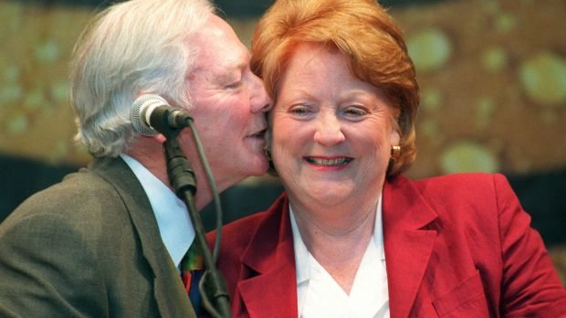Gay Byrne with Kathleen Watkins, after he was conferred with the Honorary Freedom of the City, outside the Mansion House, in Dublin. Photograph: Eric Luke