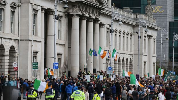 An anti-lockdown and anti-facemask protest in Dublin city centre last August. The traditional anti-vaccine lobby has found common cause with anti-lockdown and anti-face mask groups. Photograph: Nick Bradshaw
