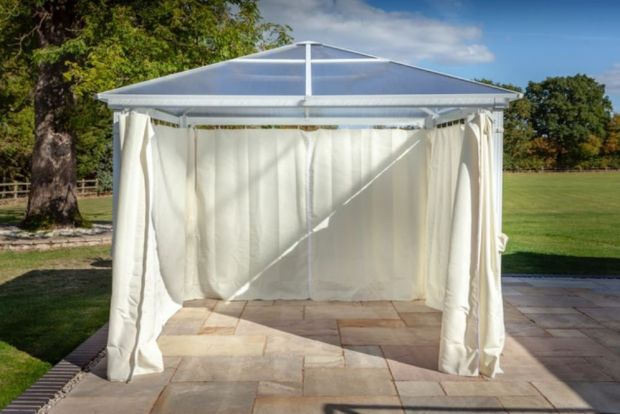 The Hartman polycarbonate gazebo with curtains