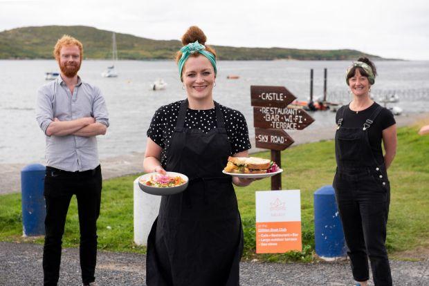Tom Mullan, Sinead Moclair and Eva Caulwell of Báidín restaurant at the Clifden boat club. Photograph: Aoife Herriott