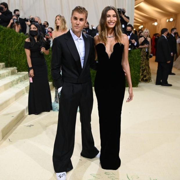 Justin and Hailey Bieber at the Metropolitan Museum of Art's Costume Institute benefit gala in New York, Sept. 13, 2021. (Nina Westervelt/The New York Times)