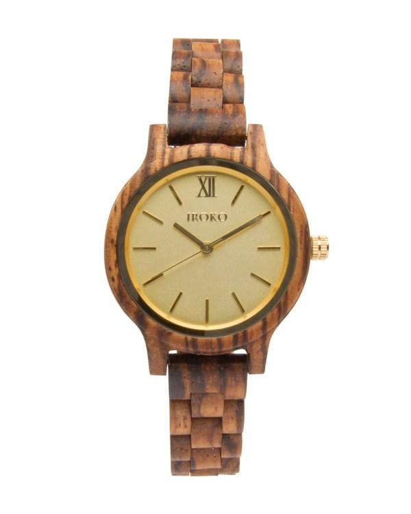 reloj de madera brisa iroko