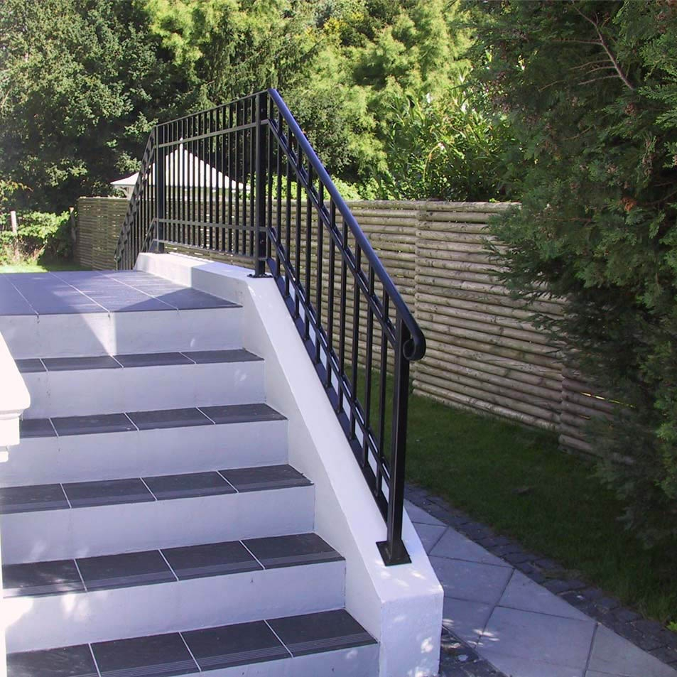 Metal Handrails » Ironcraft | Garden Handrails For Steps | Modern Hand | Wooden | Free Standing | Solid Wood | Stair Railing