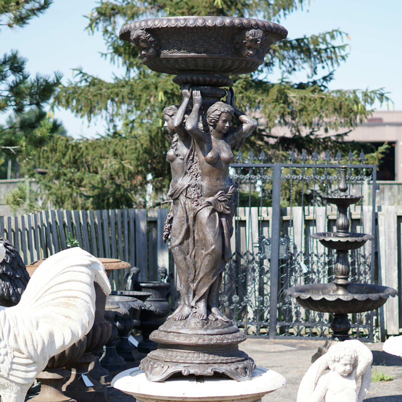 Three Women Holding Bowl Fountain Irongate Garden Elements