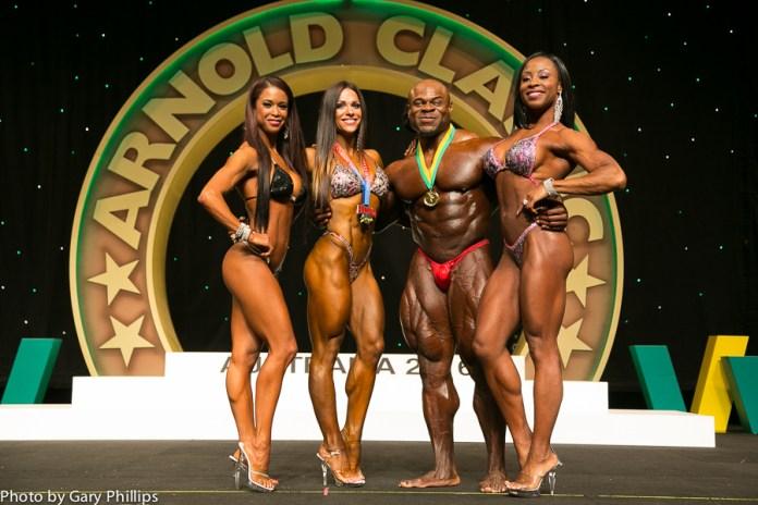 2016 Arnold Classic Australia Champions Left to Right. India Paulino Oksana, Grishina, Kai Greene, Latorya Watts