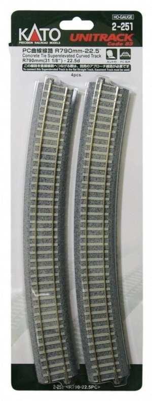 Kato HO UniTrack 790mm 31 1/8 Inch (22.5) Radius Super Elevated Curved Concrete 4 pcs 2-251