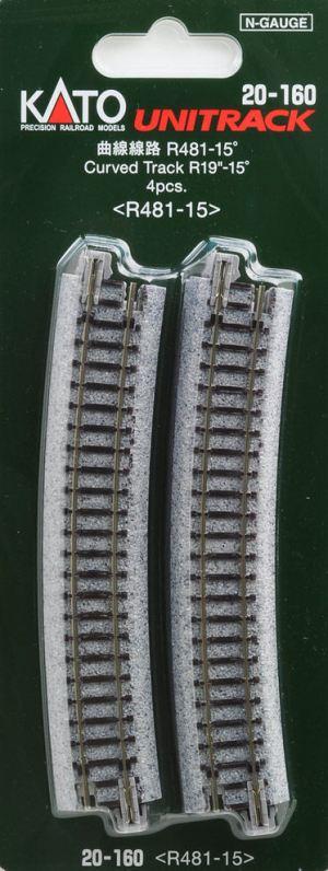 Kato N UniTrack 481mm 19″ Radius 15º Curve Track (4 pcs) 20-160