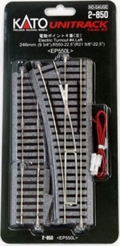 Kato HO UniTrack 550mm 9 3/4″ (21 5/8″ Radius) Left Hand Electric Switch Turnout (1 pc) 2-850