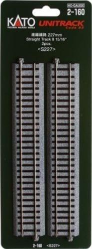 Kato HO UniTrack 227mm  15/16 Inch Straight Track 2 pcs 2-160
