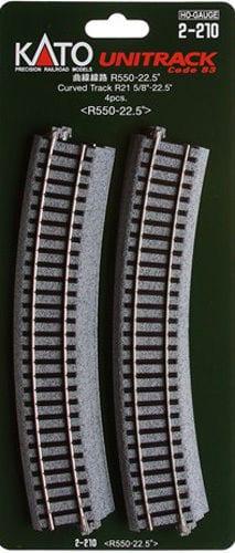 Kato HO UniTrack 550mm 21 5/8 Inch (22.5) Radius Curved Track 4 pcs 2-210