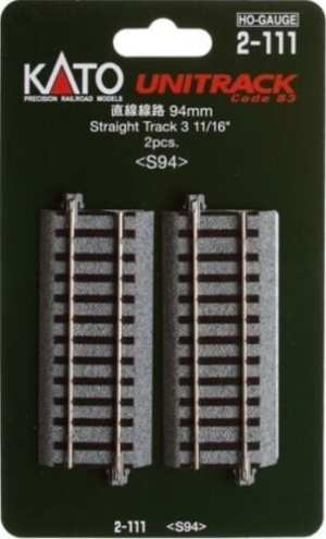 Kato HO UniTrack 94mm 3 11/16 Inch Straight 2pcs 2-111