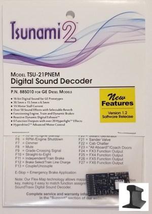Soundtraxx Tsunami 2 ~ TSU-21 Pin NEM GE Diesel Sound Decoder ~ 885010
