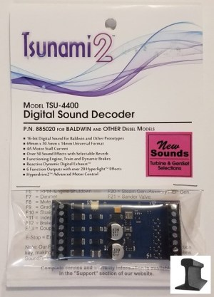 Soundtraxx Tsunami 2 ~ TSU-4400 Baldwin, Turbine, Genset & Other Diesel DCC Sound Decoder 4 Amp ~ 885020