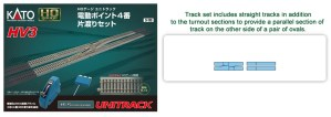 Kato HO Scale HV-3 Electric Turnout #4 Left Hand Single Crossover Track Set 3-113