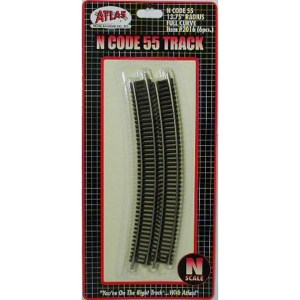 Atlas N Scale Code 55 Track 13.75″ Radius Curve (6 Pieces) 2016
