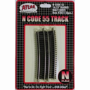 Atlas N Scale Code 55 Track 16.25″ Radius 1/2 Curve (6 Pieces) 2021