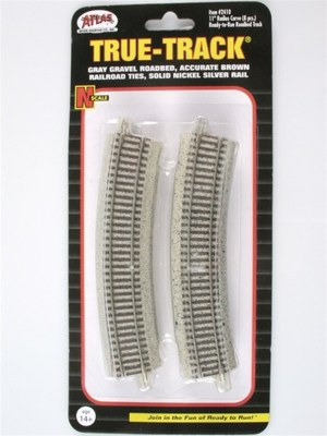 Atlas N Scale Code 65 True-Track 11″ Radius 22.5 Degree Curved (8 pcs) 2410