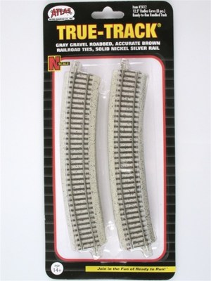 Atlas N Scale Code 65 True-Track 12.5″ Radius 22.5 Degree Curved (8 pcs) 2412