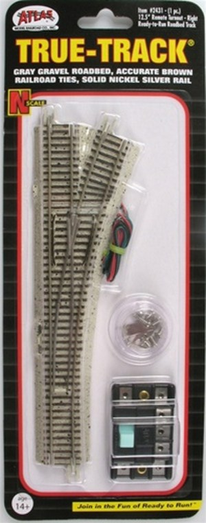 Atlas N Scale Code 65 True-Track Right Hand Turnout 12.5 Radius 2431