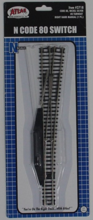 Atlas N Scale Code 80 Manual #8 Right Turnout 2718
