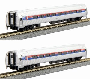 Kato N Scale Amtrak Amfleet Phase I Bookcase 2 Car Set (A) 1068012