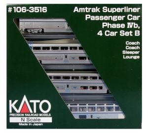 Kato N Scale Superliner Amtrak Phase IVb 4-Car Set B 106-3516