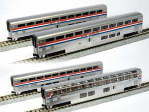 Kato N Scale Amtrak Superliner ~ 4 Cars ~ Set B Phase III ~ 1063518