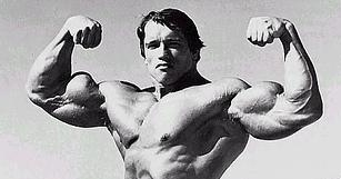 Arnold's double biceps pose