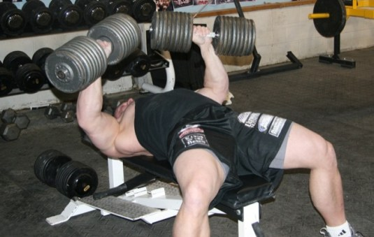 Heavy chest dumbell press