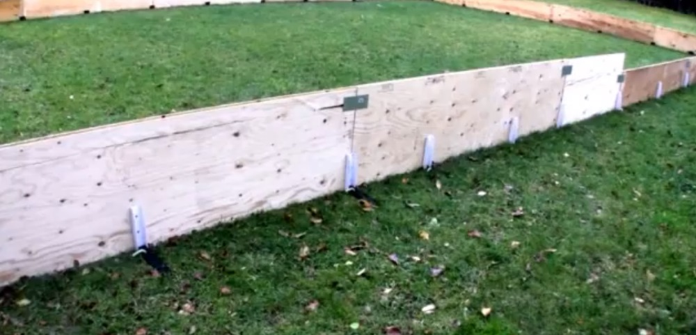 backyard ice rink with plywood and lumber boards