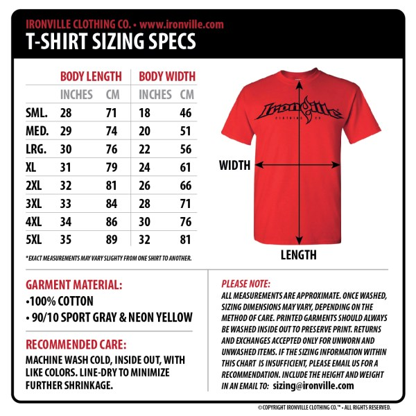 Ironville Size Charts   Gym Apparel Measurments ...