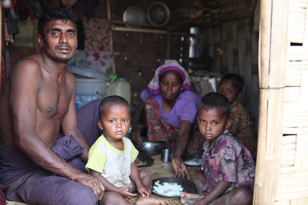 Win Naing, a 43-year-old Rohingya, lives in Thet Kel Pyin IDP camp in Rakhine State with his wife and three young children. (PHOTO: Thin Lei Win / Myanmar Now)