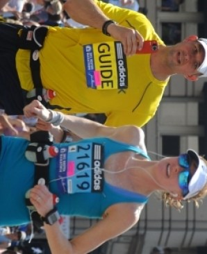 Jennifer and John in the homestretch, 2012 Boston Marathon