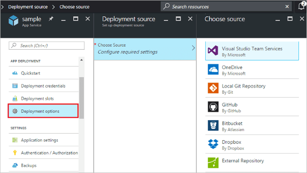 Screenshot setting Continuous Deployment di Azure App Service