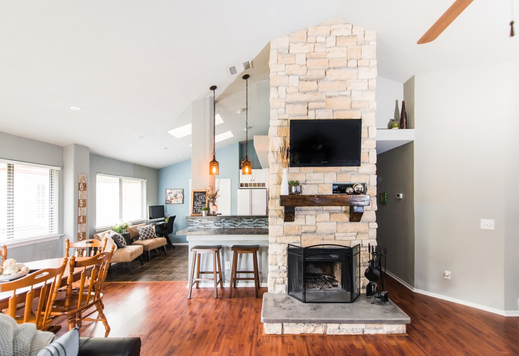 Austin Stone Fireplace Before And After Irwin Construction