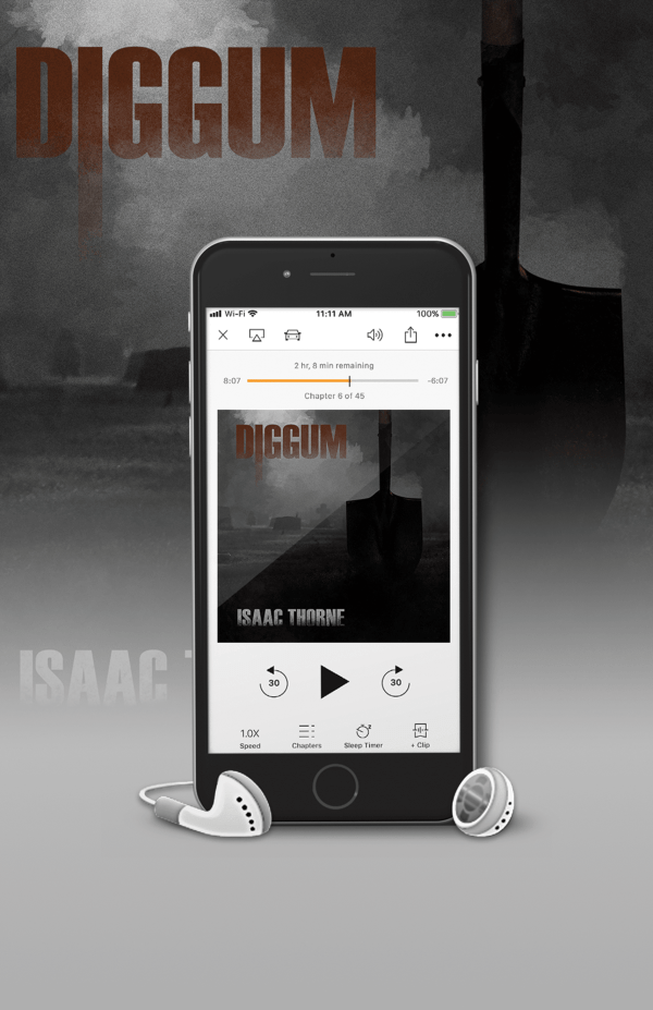 iPhone with earbuds displaying DIGGUM audiobook cover.