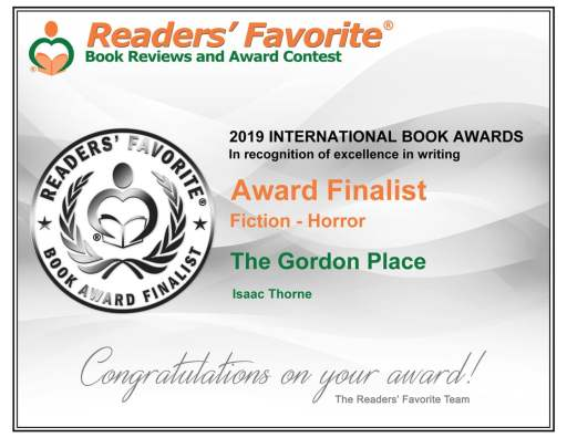 Readers' Favorite Award Finalist Certificate for 'The Gordon Place'