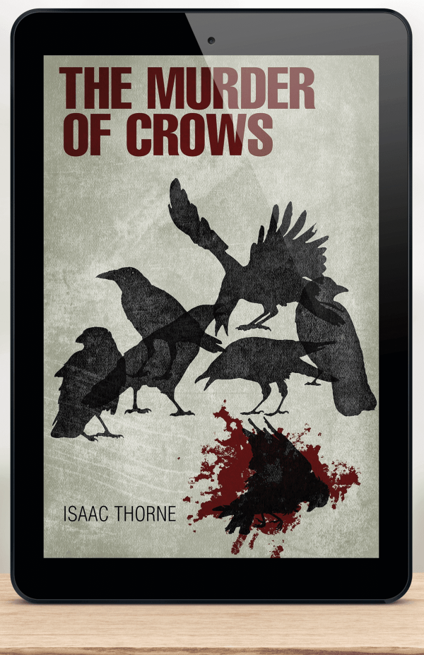 iPad featuring THE MURDER OF CROWS cover.