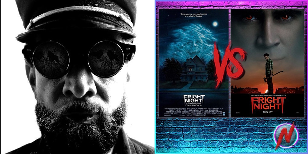 Isaac Thorne, Fright Night 1985 poster, and Fright Night 2011 poster on a Nerdosphere Podcast Background