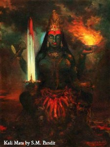Kali Mata, by S.M. Pandit. This image is so close to how I saw Her. It's on my shrine now.