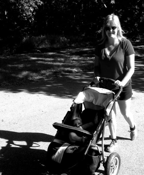 Walking with Mom and swimming in the jogging stroller. Don't worry, eventually you will fit in it a little better.