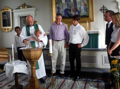 Isabella being christened!