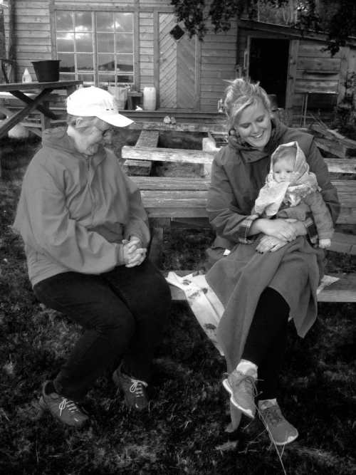 Hanging out at the cabin with Mom and gammelmormor