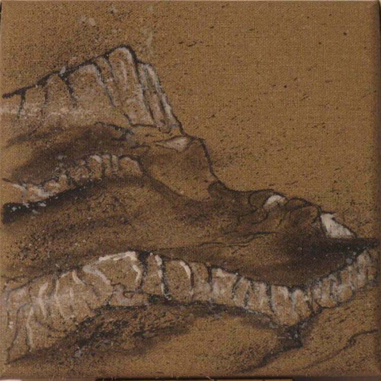 Sainte-Victoire N°4 - 20x20cm - encre de Chine sur toile - 2011 - Collection particulière.