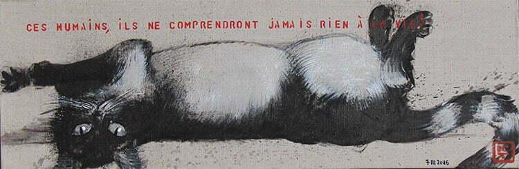 N°10 - 25x75cm - dessin encre de Chine sur toile, écriture acrylique - mars 2015 - collection particulière.